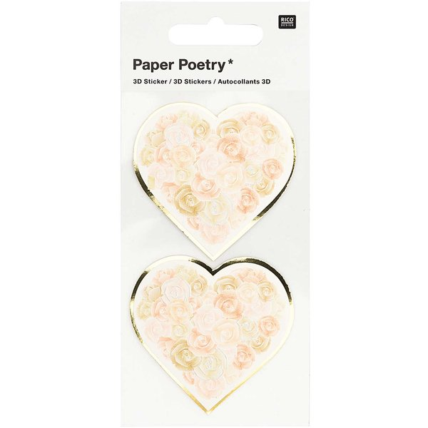 Paper Poetry 3D-Sticker Herzen mit Rosen weiß 2 Stück