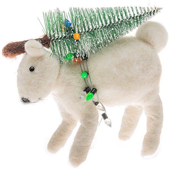 Polarbär mit Weihnachtsbaum handgefilzt 15x13cm