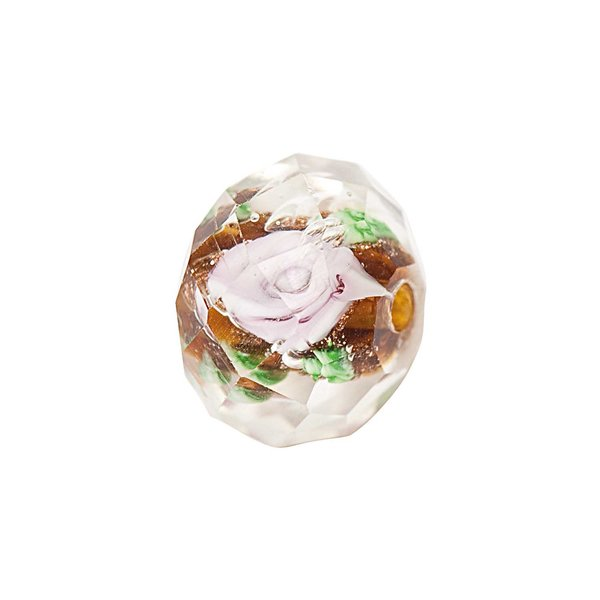Jewellery Made by Me Perle Rosen rosa-grün 12x8mm Glas 5 Stück