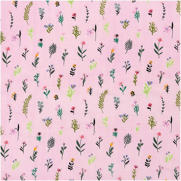 Rico Design Musselin-Druckstoff Bunny Hop Streublumen pink-neon 50x140cm