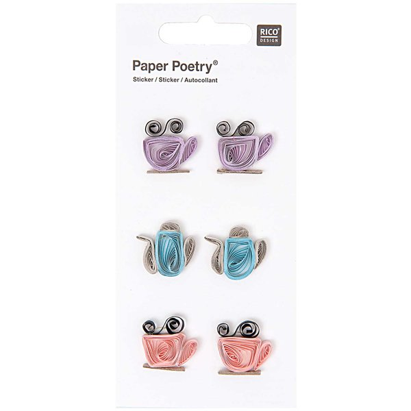 Paper Poetry Quilling Sticker Teatime