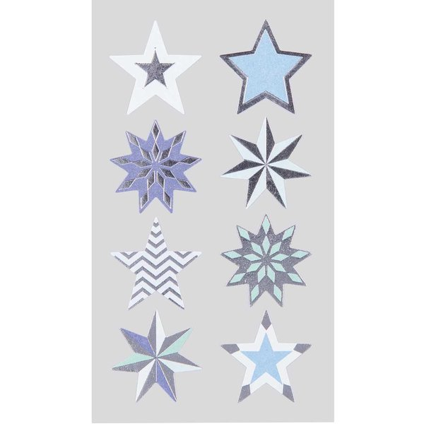 Paper Poetry Sticker Sterne blau-silber 4 Bogen
