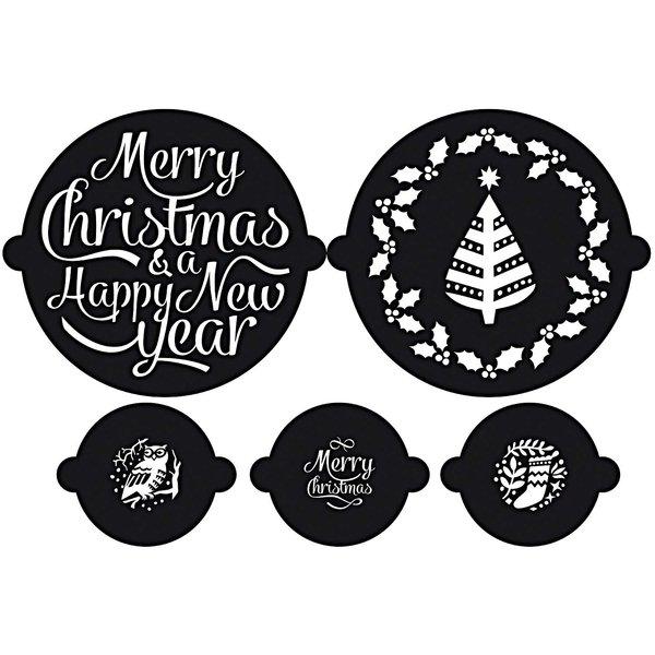Rico Design Kuchen- und Cupcake Schablonen Christmas 5er Set