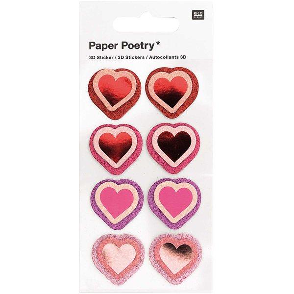 Paper Poetry 3D-Sticker Herzen Glitter 8 Stück