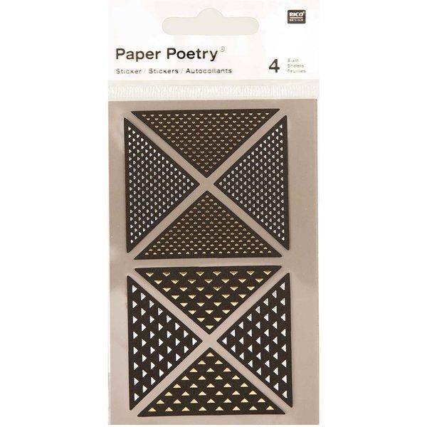 Paper Poetry Sticker Dreiecke schwarz-metallic 4 Bogen
