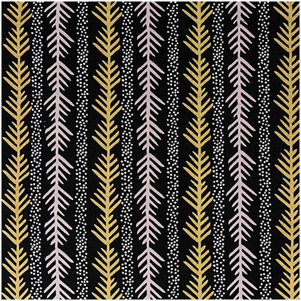 Rico Design Stoff grafische Tanne schwarz-gold 140cm breit