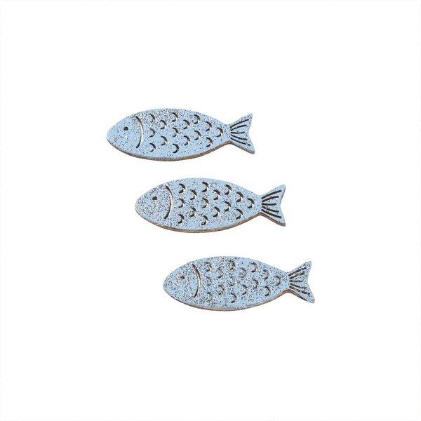 Hobby Fun Holz-Fische hellblau mit Glimmer 6 Stück