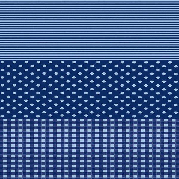 décopatch Papier Punkte-Karo-Streifen dunkelblau 3 Bogen