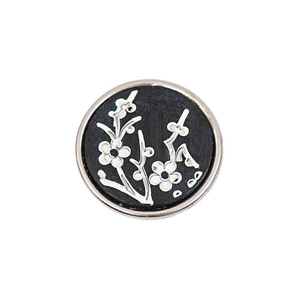 Rico Design Knopf Blumen schwarz-weiß 14mm