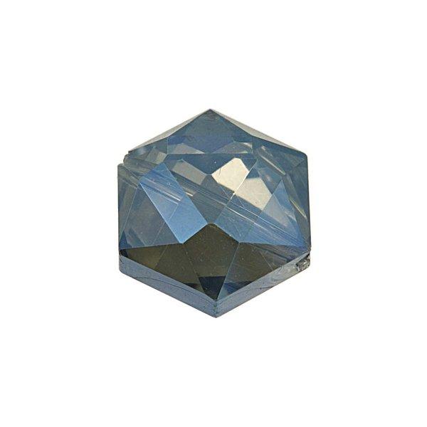 Jewellery Made by Me Perle geschliffen blau irisierend 14x10mm Glas 4 Stück