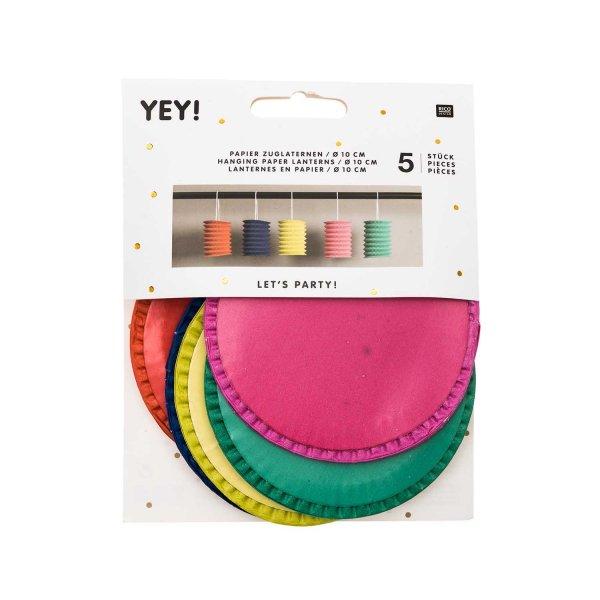 YEY! Let's Party Zuglaterne mehrfarbig 10x13cm Papier 5 Stück