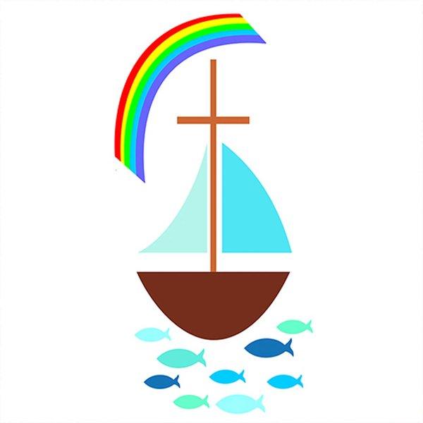 efco Wachsdekor Segelboot mit Regenbogen 10x5cm