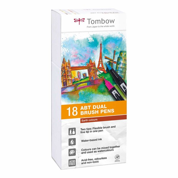Tombow ABT Dual Brush Pen Erdfarben 18er Set