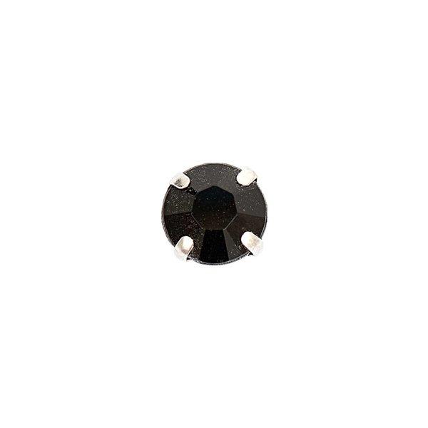 Jewellery Made by Me Aufnähsteine gefasst schwarz rund 8x8x6mm 15 Stück