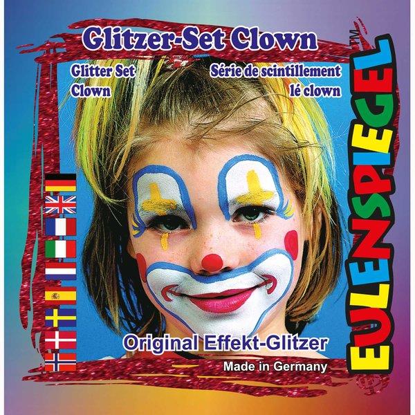 Eulenspiegel Glitzer Set Clown 4teilig