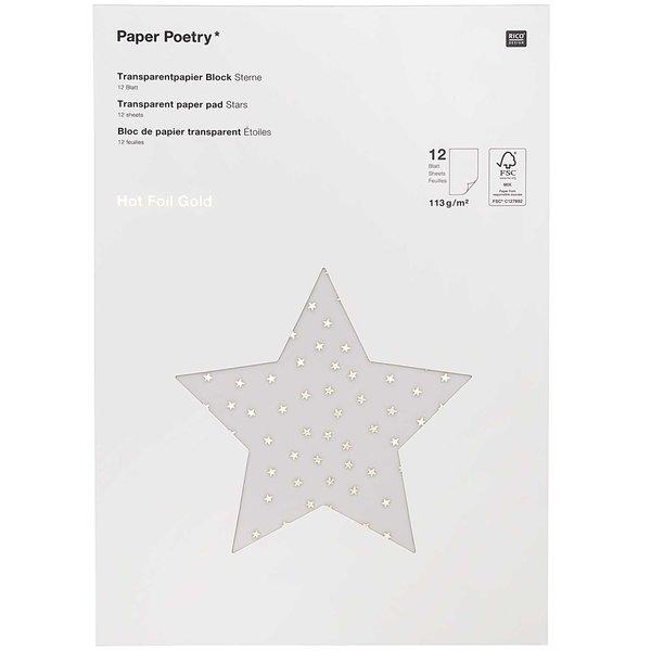 Paper Poetry Transparentpapierblock Sterne gold 21x29,5cm 12 Blatt