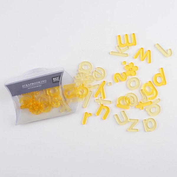 Rico Design Scrapbooking Acryl ABC gelb 45teilig