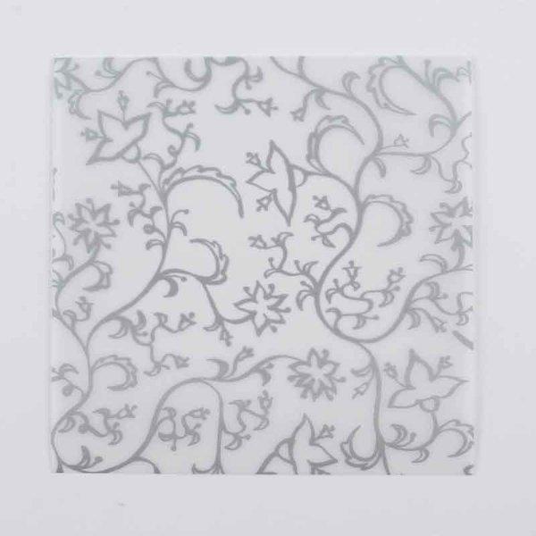MARPA JANSEN Faltblätter transparent Blüten silber 15x15cm 32 Stück