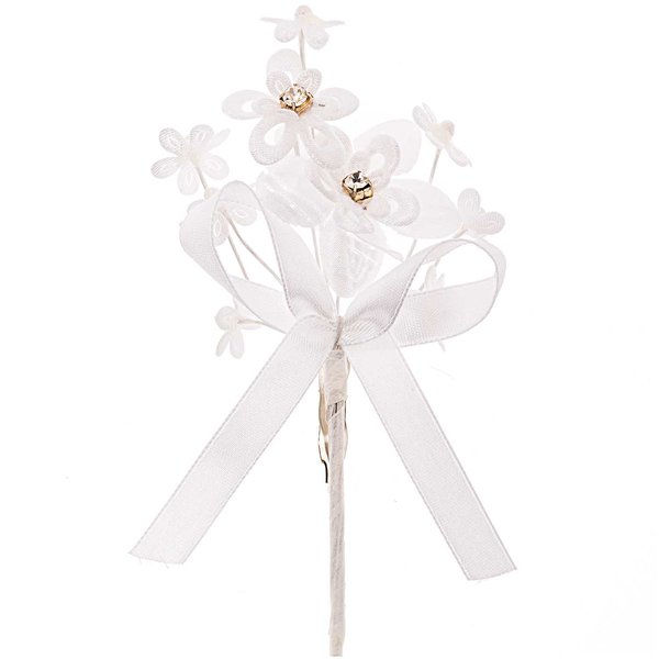 Anstecker Blütentuff mit Strass und Schleife weiß 11x7cm