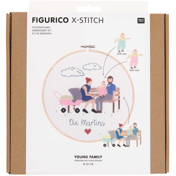 Rico Design Figurico Stickpackung Young Family 20cm