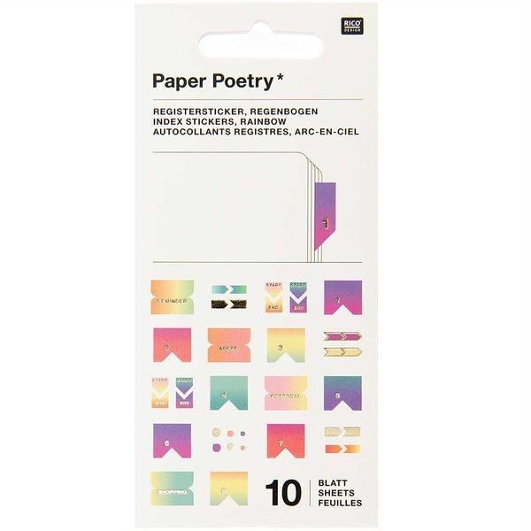 Paper Poetry Stickerbuch Register pastell 10 Blatt