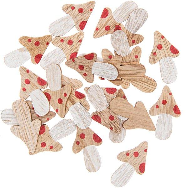 Holzstreu Pilze mehrfarbig 4cm 24 Stück