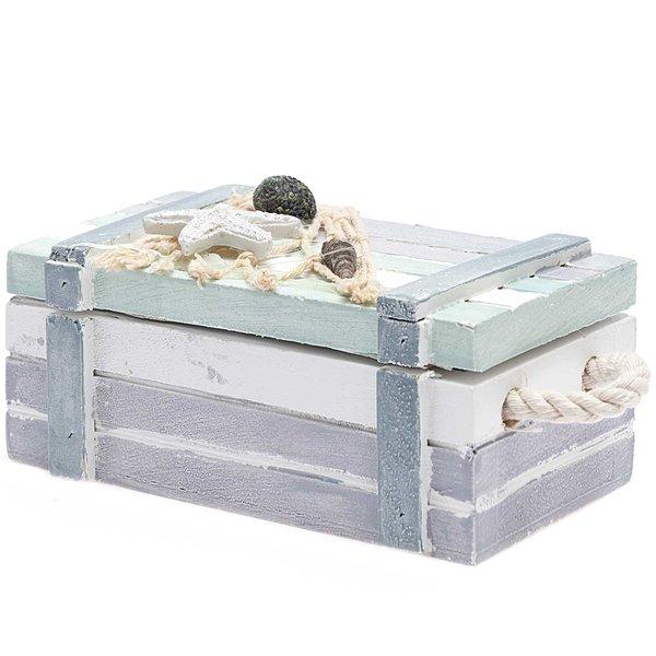 Schatztruhe Maritim blau-grau-weiß 12x6x5cm