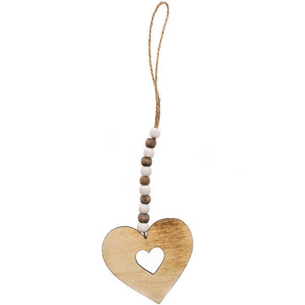 Holz-Herz zum Hängen natur-weiß 8,5x8cm
