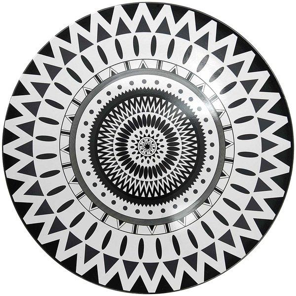 Teller aus Kunststoff Ethno schwarz-weiß 33cm