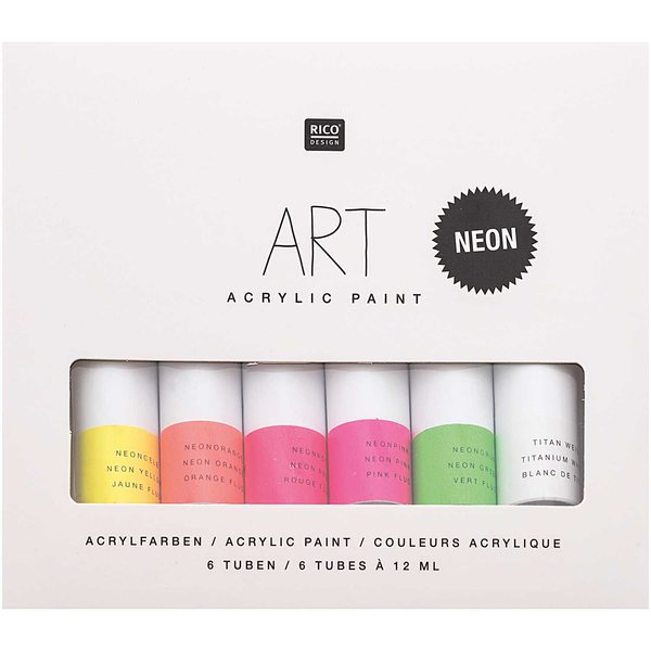 Rico Design ART Künstler Acrylfarben-Set Neon 6x12ml