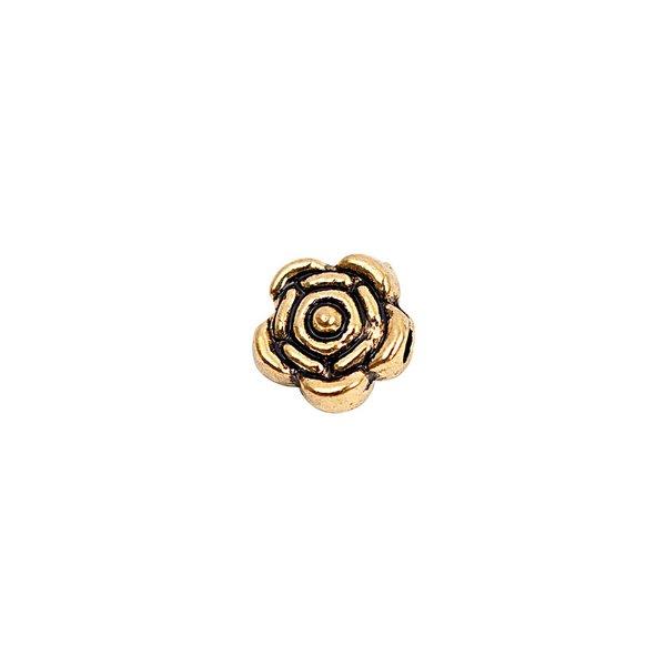 Rico Design Röschen flach schwarz-gold 6mm 30 Stück