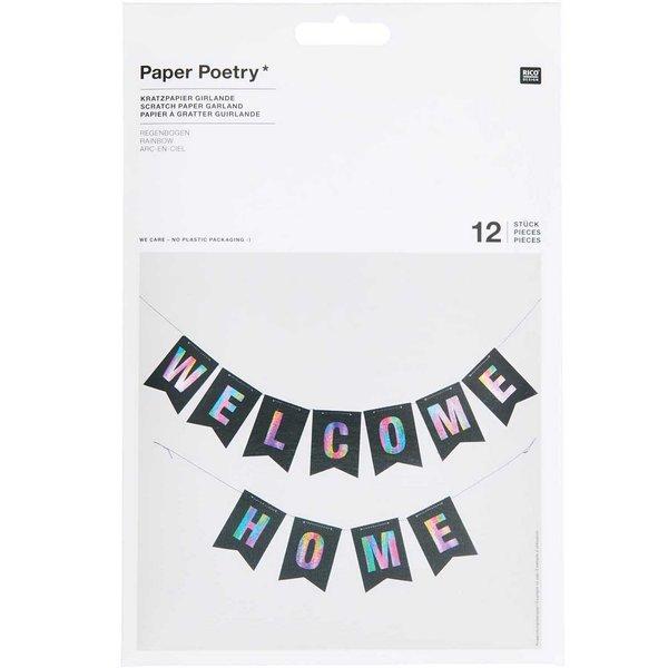 Paper Poetry Kratzpapier Girlande 12 Wimpel mit Holzkratzer