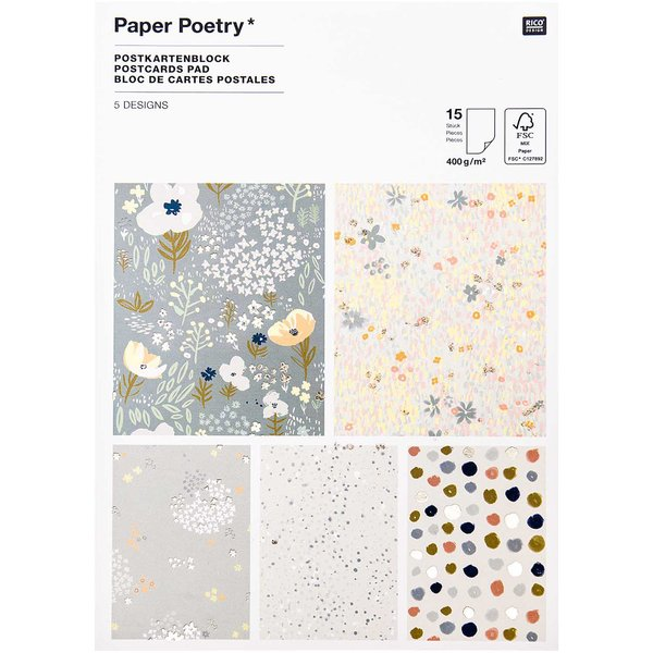 Paper Poetry Postkartenblock Crafted Nature blau 15 Stück