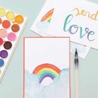 Anleitung Kunterbunte Postkarten mit Aquarellfarben gestalten