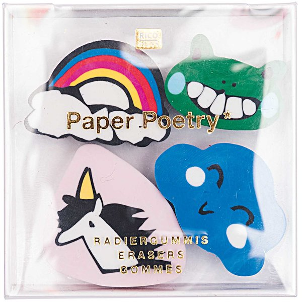 Paper Poetry Radiergummis 3x3cm 4 Stück