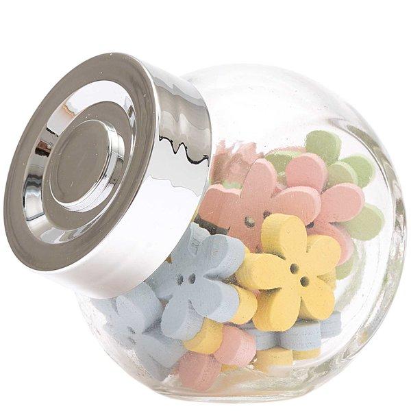 Knöpfe Blume im Glas mehrfarbig 1,7cm 24 Stück