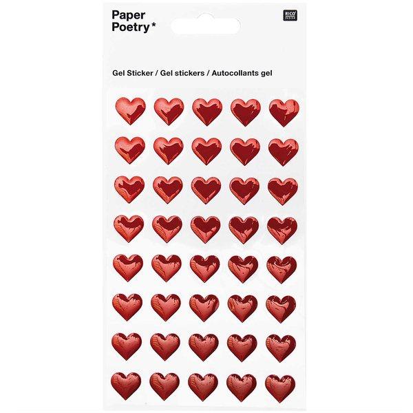 Paper Poetry Gelsticker Herzen rot
