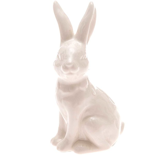 Porzellan-Hase sitzend weiß 9,5x5cm