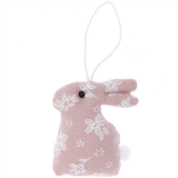 Hänger Stoffhase rosa-weiß 8,5cm