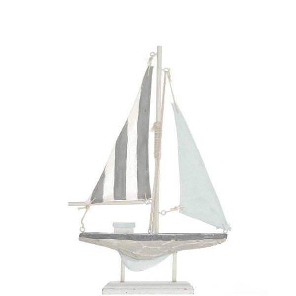 Ohhh! Lovely! Segelboot hellblau-weiß Holz 19x30,5cm