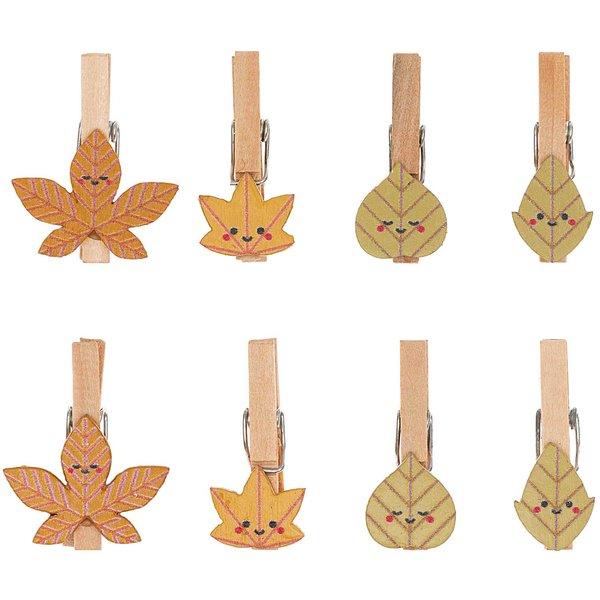 Ohhh! Lovely! Holzclips Blätter Mix bunt 3cm 8 Stück