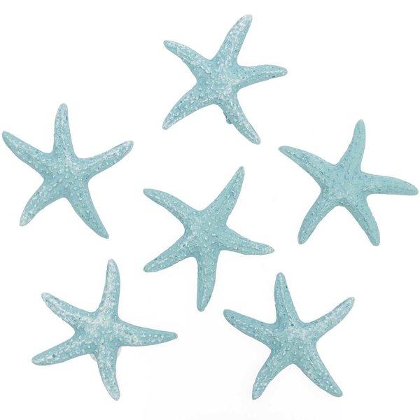 Seesterne aus Polyresin aqua 3,5cm 6 Stück