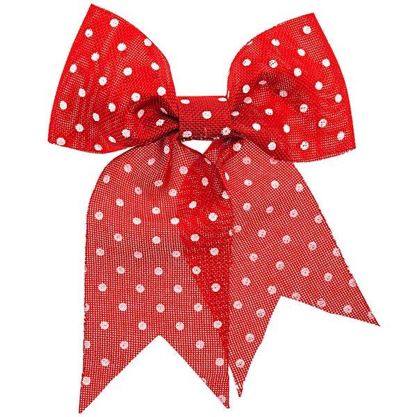 Geschenkschleife Punkte rot-weiß 20x18cm