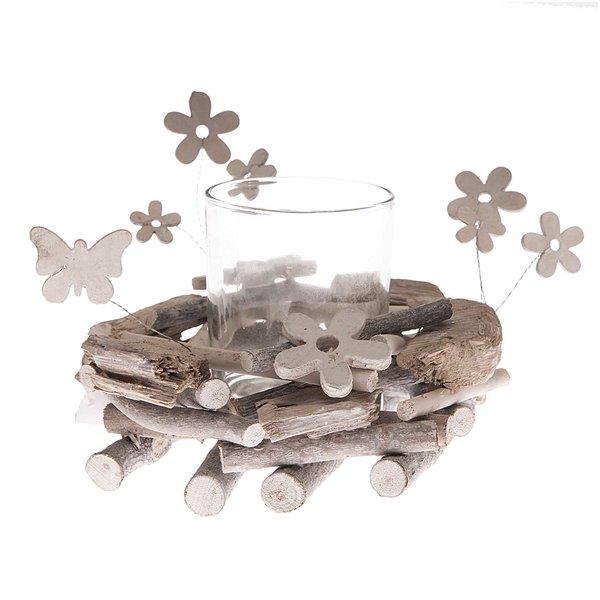 Teelichthalter weiß-natur 19x9cm