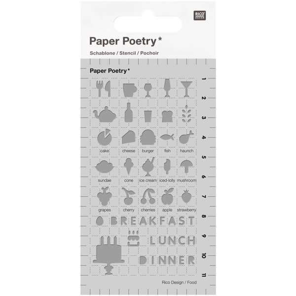 Paper Poetry Bullet Diary Schablone Food 7x12cm
