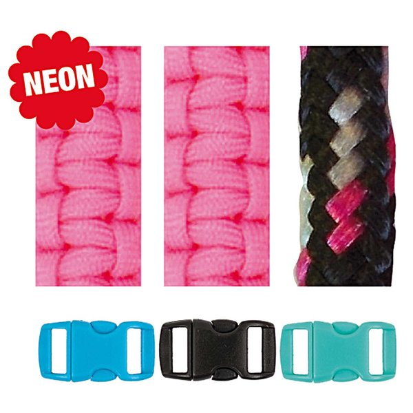 Jewellery Made by Me Paracord Set neonpink-schwarz 2mm 6teilig