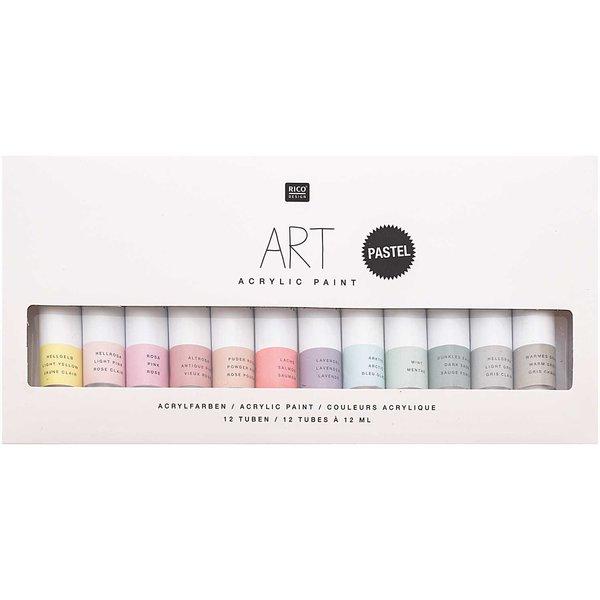Rico Design ART Künstler Acrylfarben-Set Pastell 12x12ml