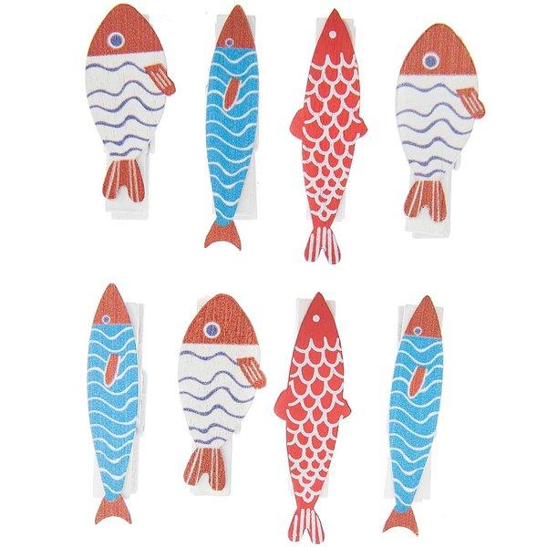 Ohhh! Lovely! Dekoklammern Fisch Mix rot-blau 7x35mm 8 Stück