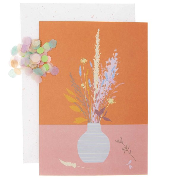 Paper Poetry Grußkartenset Blumenvase orange