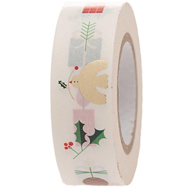 Paper Poetry Tape Weihnachtsmotive weiß 1,5cm 10m